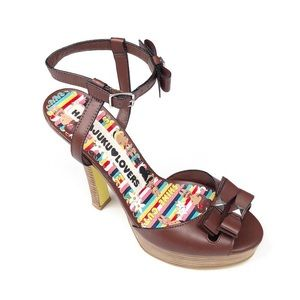 Harajuku Lovers Brown Strappy Heels Size 7